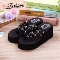 Lily fashion New 1pair Summer  Shoes Fashion Women Sandals Hawaii Beach Flat Wedge Flip Flops Lady Slippers