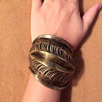 Brass Artisan Cuff Bracelet, Feather Carved Art Deco, Art Nouveau, Huge Vintage