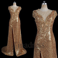 Slit Tan Beaded Sequins Lace Long Prom Dresses Sexy See Through Evening Dresses Fashion Party Dress Homecoming Dress Wedding Party Dress