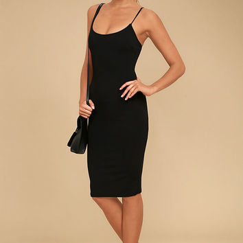 Absolutely Astounding Black Bodycon Midi Dress