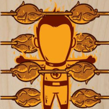 'Part-Time JOB Roasted Chicken Shop' Funny Parody Super Hero Roasting Chicken w/ Fire - Plywood Wood Print Poster Wall Art