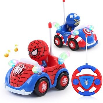 Disney Avengers Kids Boy Xmas Birthday Gift American Captain Figure Remote Electric Juguete Toys Marvel RC Cars with Light Music