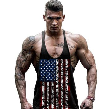 USA Flag Print Tank Top Running Vest Men's Sleeveless Shirt Fitness Singlets Muscle Bodybuilding Basketball Sports Jogging Wear