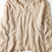 AEO Women's Don't Ask Why Sweater Hoodie (Oatmeal)