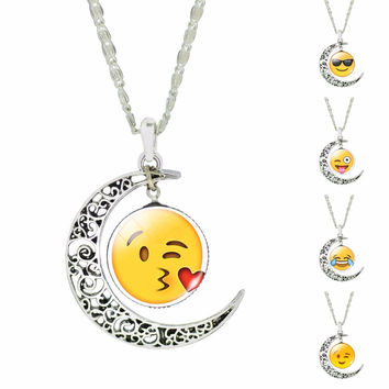 Glass Cabochon Jewelry Silver Plated with Cute Emoji Crescent Moon Shaped Long Pendant Choker Necklace for Women Party