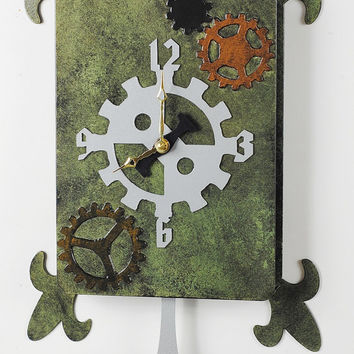Steampunk Clock, Steampunk Wall Clock, Industrial Clock, Pendulum Clock