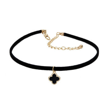 Clover Charm Suede Choker