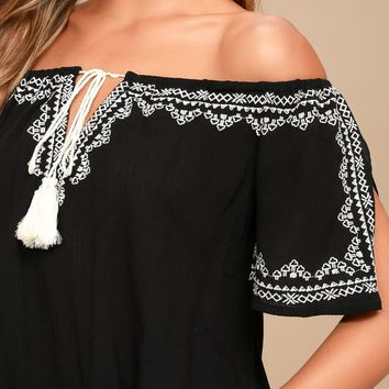 Street Festival Black Embroidered Off-the-Shoulder Top