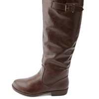 Bamboo Belted Flat Knee-High Riding Boots by Charlotte Russe - Brown