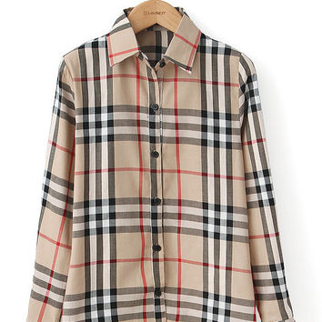 Plaid Long Sleeve Shirt Collar Blouse