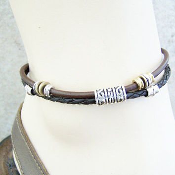 Best Seller, Ankle Bracelet, Leather Anklet, Black or Brown by Feralspassage on Etsy