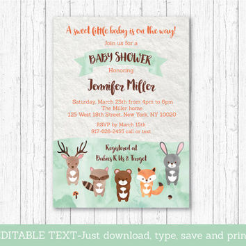 Woodland Baby Shower Invitation / Woodland Baby Shower Invite / Cute Forest Animals / Watercolor / Editable PDF INSTANT DOWNLOAD A156