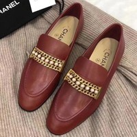 Chanel Slip-On Women Fashion Pearl Chain Leather Shoes