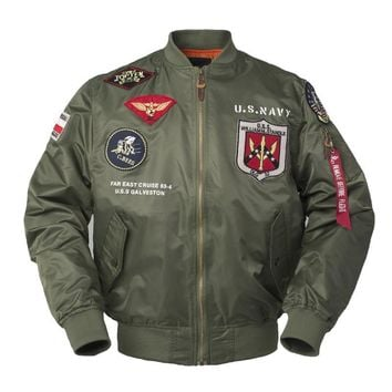 Trendy 2018 Autumn Top gun Us navy MA1 letterman varsity baseball Pilot air force flight college tactical military army jacket for men AT_94_13