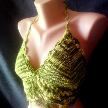 Crochet Festival Top Boho Top Bikini Top Hippie Style Backless Top Green Shiny Tank Halter Women Beachwear Clothing Accessories