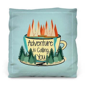 Adventure is Calling Outdoor Throw Pillow