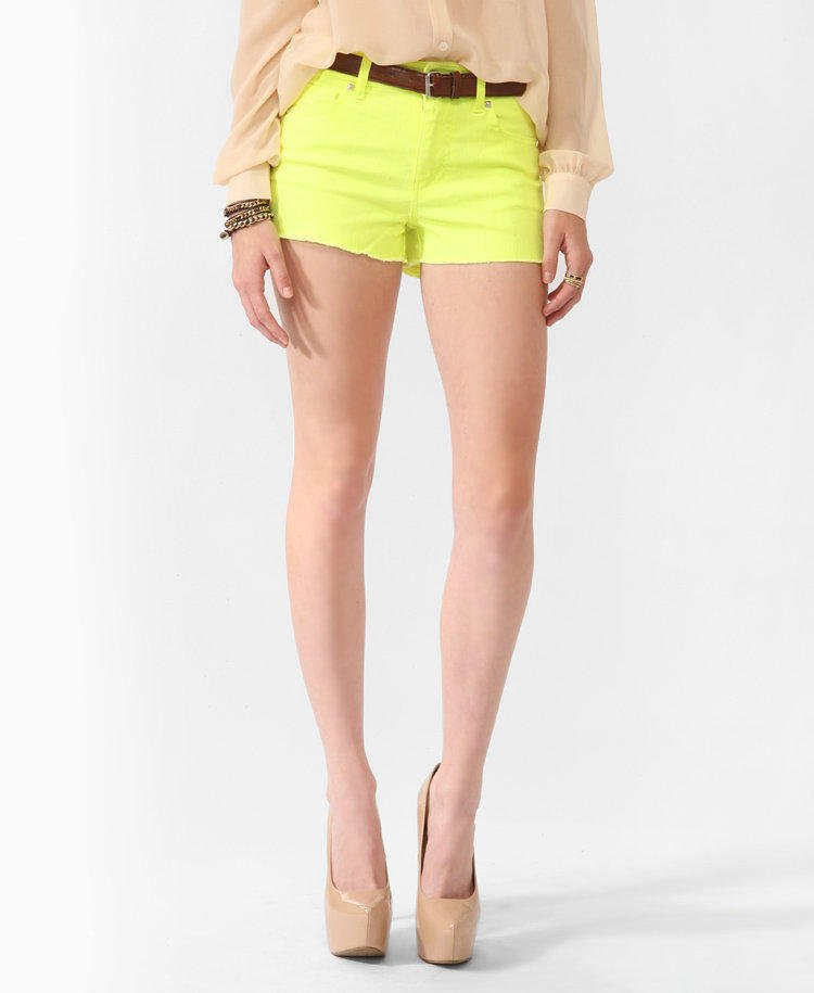 High-Rise Neon Shorts w/ Belt   FOREVER21 - 2000037398