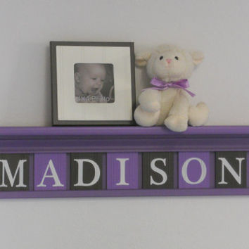 "Unique Baby Gifts - Custom Gift - Baby Girl Brown Purple Nursery Decor 30"" Shelf - 7 Wood Letter Brown and Purple Baby Name Signs - MADISON"