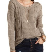Cable Knit High-Low Sweater by Charlotte Russe