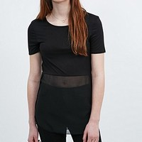 Sparkle & Fade Sheer Panel Tee - Urban Outfitters