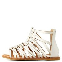 White Bamboo Flat Lace-Up Gladiator Sandals