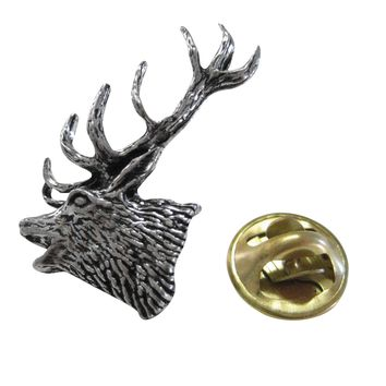 Red Stag Deer Head Lapel Pin