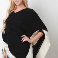 Two-Tone Thick Knit Poncho