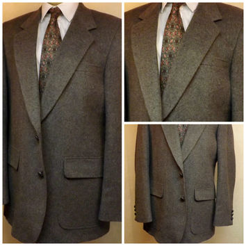 Vintage 80s Mens Gray All Camel Hair Sport Coat  Size 40 L