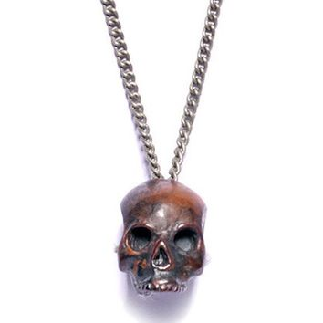 Torched Steel Skull Necklace