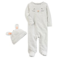 carter's® 2-Piece Bunny Footie and Hat Set in Grey