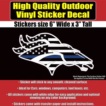 Denver Broncos Thin Blue Line Design, Car Window Vinyl Decal Sticker
