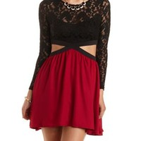 Color Block Cut-Out Skater Dress by Charlotte Russe - Burgundy Cmb