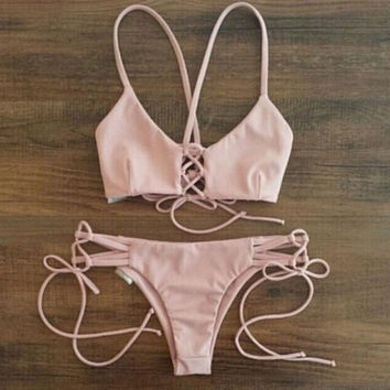Women's Pink Swimwear Swimsuits Two Pieces