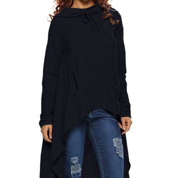 Navy Blue Plain Drawstring Irregular Oversize Hoodie