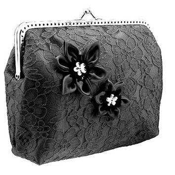 black lace handbag, frame clutch bag, goth black lace bag womens, evening black clutch small bag, party clutch, womens clutch purse 0650-03