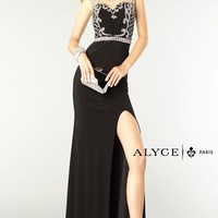 Alyce Paris 6361 Beaded High Neck Long Black-Silver Prom Dress