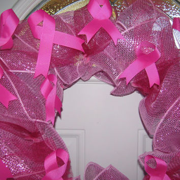 Deco Mesh Breast Cancer Awareness Wreath End of Season Sale