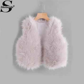 Sheinside Pink Collarless Faux Fur Crop Vest Womens Autumn Elegant Faux Fur Vest 2017 Women Sleeveless Cute Winter Jacket