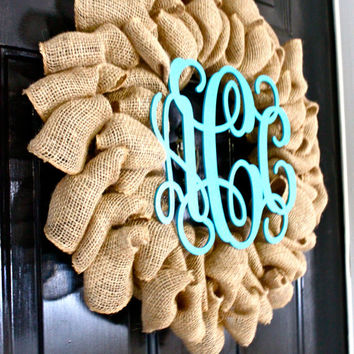 Monogram Wreaths for Door, Front Door Monogram, Front Door Hanger, Monogram Door Hanger, Burlap Wreath , Burlap Monogram Wreath, Initial