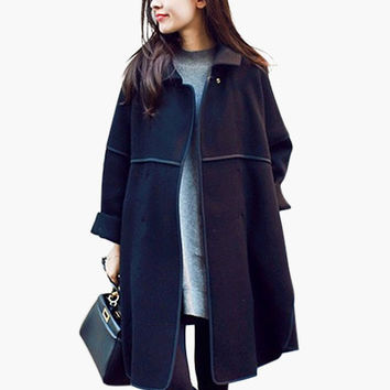 Long Sleeve Collar Coat with Pocket