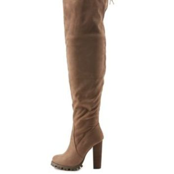 Taupe Chunky Heel Drawstring Over-the-Knee Boots by Charlotte Russe