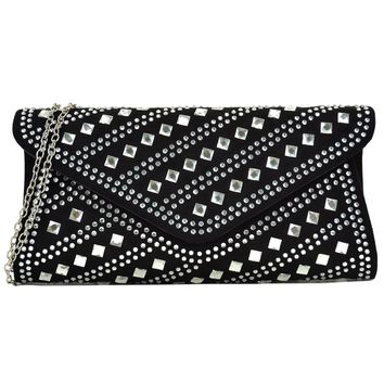 Rectangular Studded Rhinestone evening purse clutch