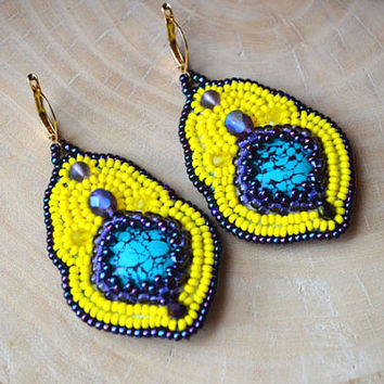Bead Embroidery Yellow Purple Turquoise Earrings Seed Bead earrings Beadwork earrings Beaded earrings Bead Embroidery Jewelry Gift for her