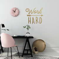 Work Hard Wall Decal, Typography Wall Sticker, Kids Sticker, Typography Decal, Nursery Decal, Office Decor, Office Wall Decal, Work Hard Art