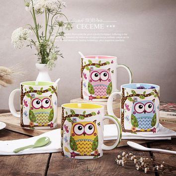 hot new zakka creative cute cartoon ceramic breakfast cup mug coffee milk tea mugs colorful animal Owl gifts tazas sublimation