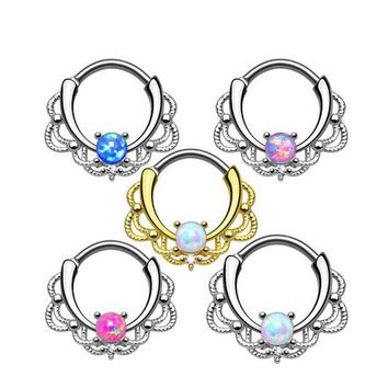 ac DCCKO2Q 1 piece New Fashion 2017 Lacey Opal Gem Septum Ring Rook Clicker Nose Ring Titanium Shaft 16G Hanger Body Piercing Jewelry