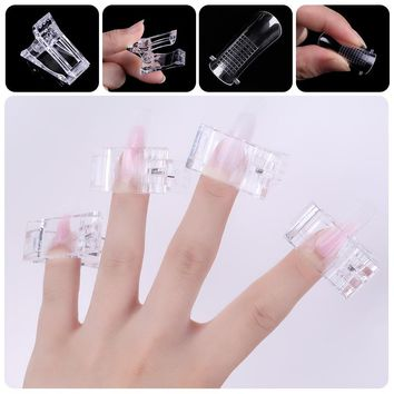 LILYCUTE 40Pcs False Nail Tips Reusable Quick Nail Tips Clip Plastic Finger Poly Gel Quick Building Manicure Nail Art Tools