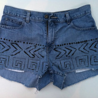 Aztec Inspired Denim High Waist Shorts