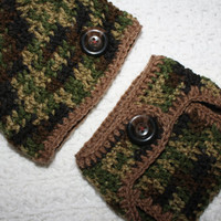 Infant Boys Hunter Camo and Brown Baby Diaper Cover and Baby Hat Set-  Baby Shower Gift,