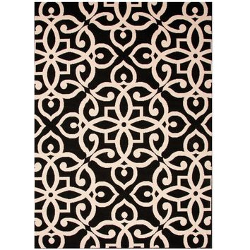 Black Fretwork Pattern Outdoor Rug